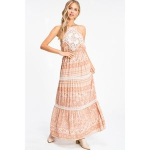 Glam Girl Fashion Dresses - NWT Lace Boho Halter Maxi Dress